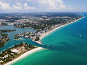 Aerial of Venice, Florida, home to great destination weddings