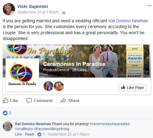 Testimonial for Ceremonies By Kat and Ceremonies in Paradise for being the best wedding officiant in the Florida Keys